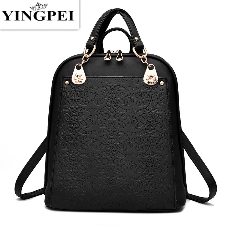 YINGPEI Leather font b Women b font font b Backpacks b font Fashion Brands Black Schoolbag