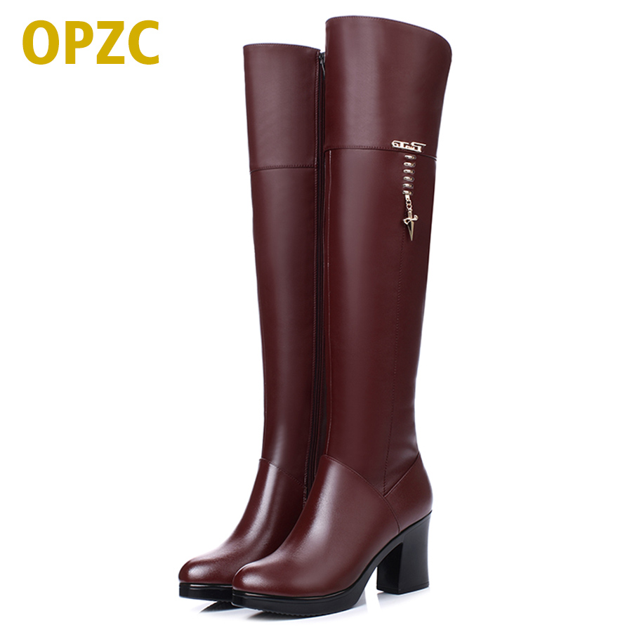 2018 new Women's genuine leather long barrel boots, winter plus velvet knee boots, high-heeled motorcycle boots, free shipping 2016women s genuine leather boots high heeled winter boots designer wool lining motorcycle boots thick snowshoe free shipping