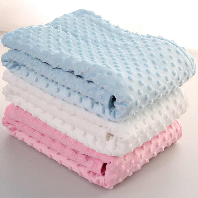 76x102cm Point Fleece Baby Sheet Blanket Newborn Baby Swaddle Wrap Bebe Envelope Wrap Newborn Baby Bedding Blanket