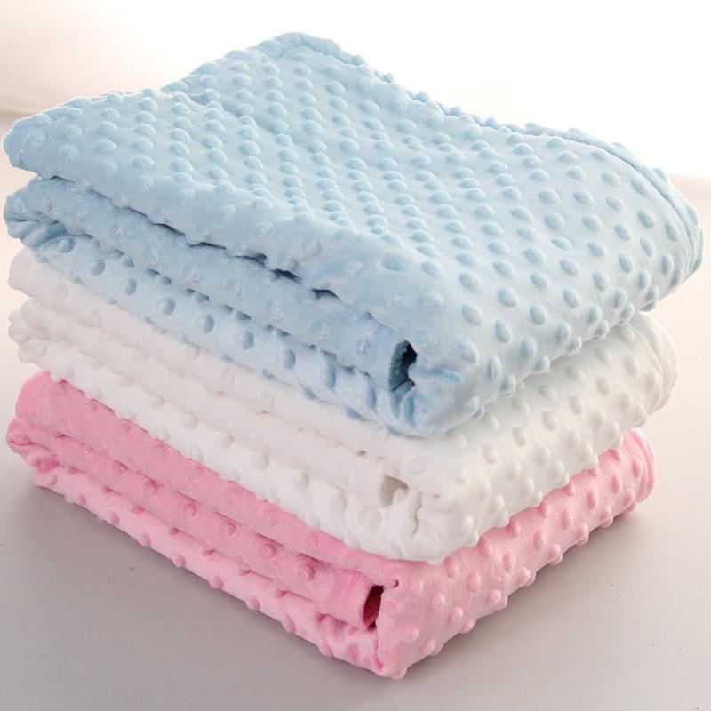 76x102cm Point Fleece Baby Sheet Blanket Newborn Baby Swaddle Wrap Bebe Envelope Wrap Newborn Baby Bedding Blanket