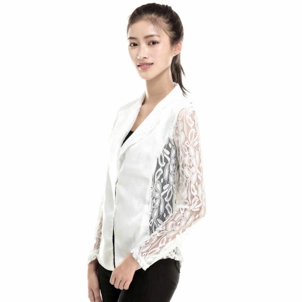 春秋薄型ジャケットコートセクシーなレディースロングスリーブレース編みブレザー小ブレザー黒、白のジャケット