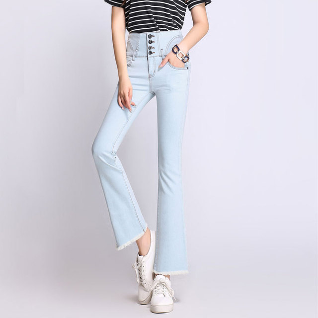 color brilliancy super service select for authentic US $46.9 |2018 autumn new women ankle length flare jeans buckle high waist  with tassels stretchy slim jeans S to 5XL light dark blue-in Jeans from ...
