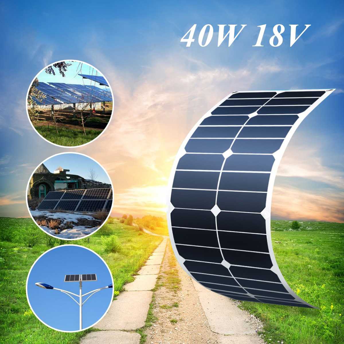 LEORY Flexible Solar Panel Plate 40W 18V Solar Charger For Car Battery 12V Sunpower Monocrystalline Silicon Cells Module Kit leory 12v 4 5w solar panel portable monocrystalline solar cells power charger diy module battery system for car automobile boat