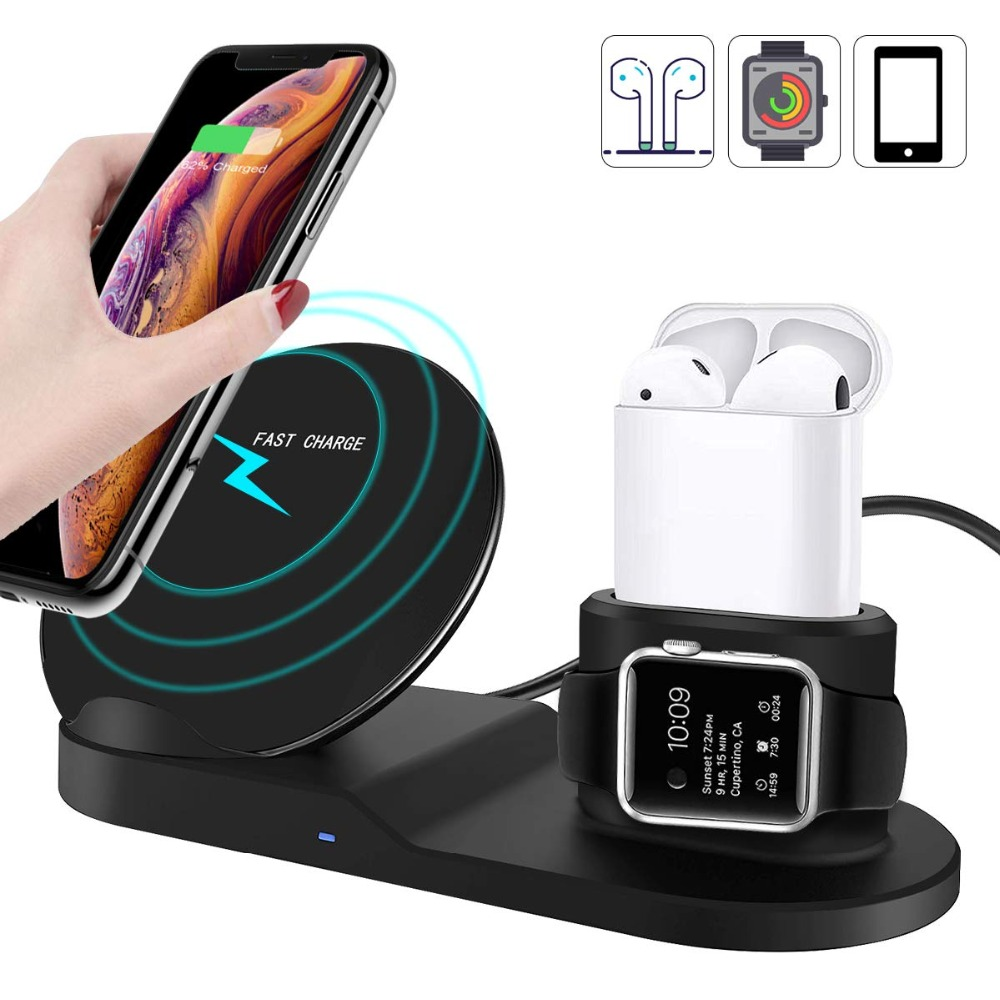 3 in 1 Qi Wireless Charger Stand for Samsung S10 Plus iPhone XS Max X 8 Apple Airpods Charger Dock for Apple Watch Series 4 2 3