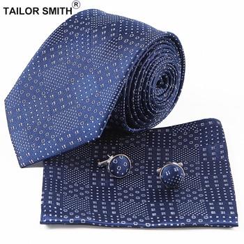 Tailor Smith Navy Necktie 100% Pure Silk Formal Hanky Cufflink Gift Set Fashion Formal Business Wedding Suit Mens Tie Neckwear
