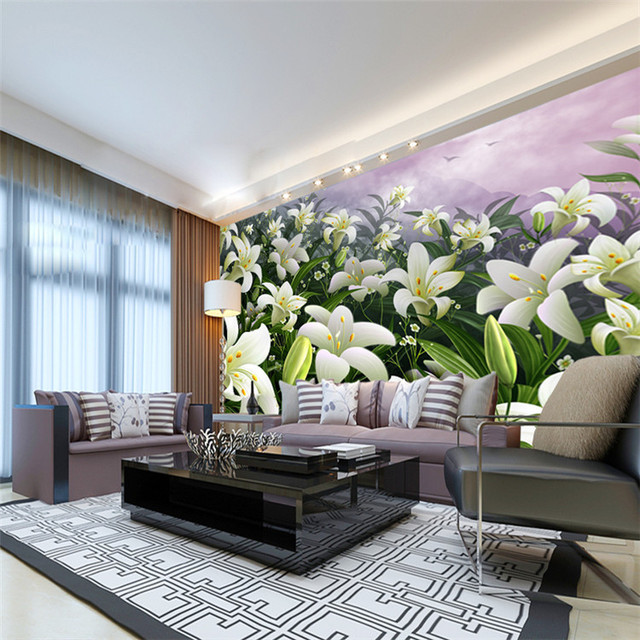 Elegant Lily Flowers Photo Wallpaper Custom Wall Mural Natural Wallpaper  Art Wall Print Decal Home Decor Part 55