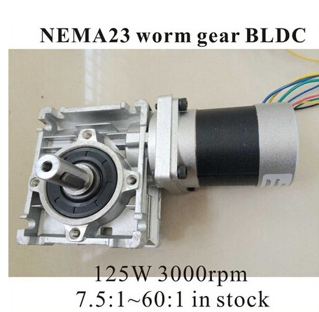 3pcs/lot 24V 57 Worm Reducer Brushless DC Motor 125W Gear Ratio 7.5 10 15 20 25 40 50 60 :1 80:13pcs/lot 24V 57 Worm Reducer Brushless DC Motor 125W Gear Ratio 7.5 10 15 20 25 40 50 60 :1 80:1