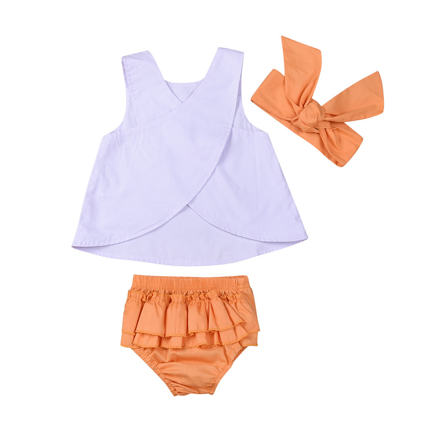 0 to 3T Toddler Baby Girls Clothes New Style Sleeveless Romper Tops+Flower Tutu Skirts+Headdress 3pcs Outfits Baby Clothing Set