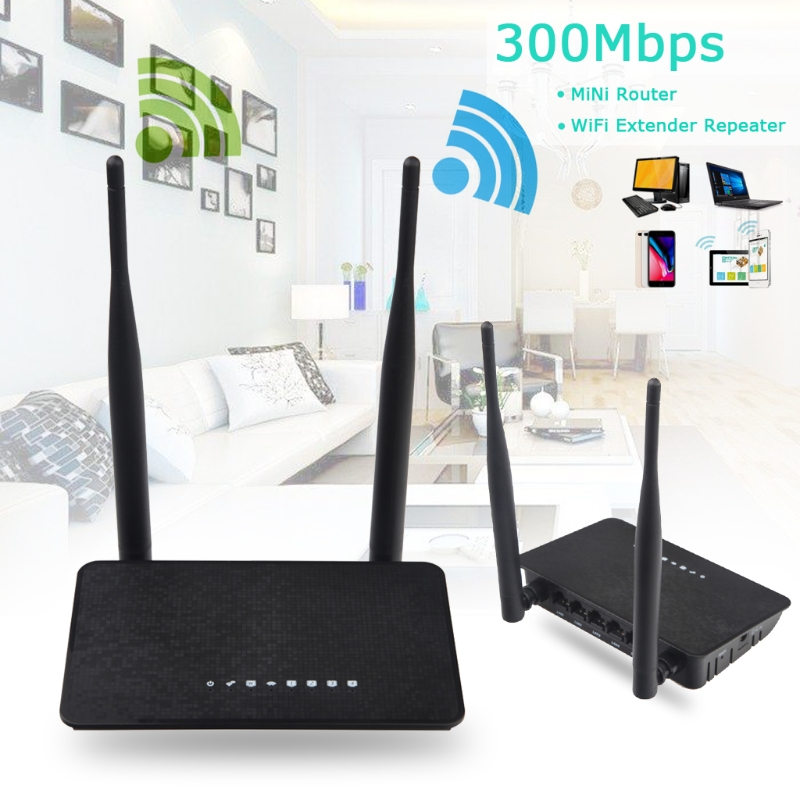 300M Wireless Router WiFi Repeater 2in1 Dual Antenna 5dBi 300Mbps Extended Range