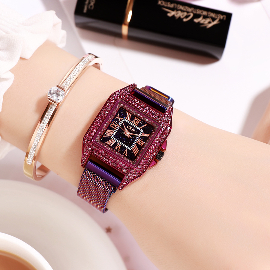 GEDI square retro women watches full rhinestone diamond ladies elegant wristwatch luxury exquisite dress trendy quartz watches-in Women's Watches from Watches    2