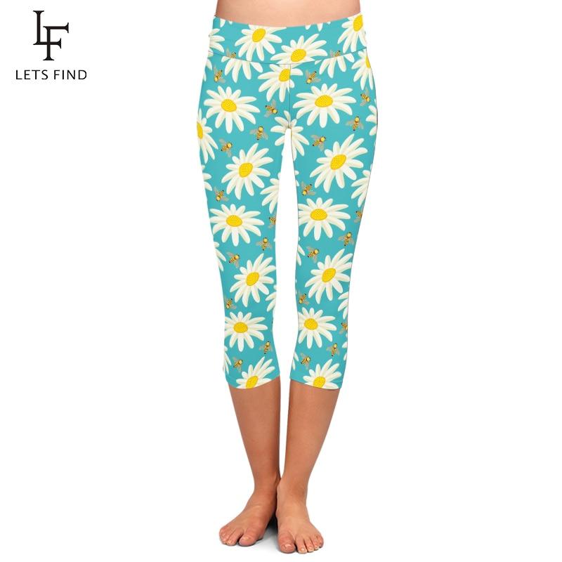 Summer Simple Design Women Capri   Leggings   Seamless 3D Flowers Print High Waist Elastic Plus Size Mid-Calf 3/4 Stretch Girl Pants