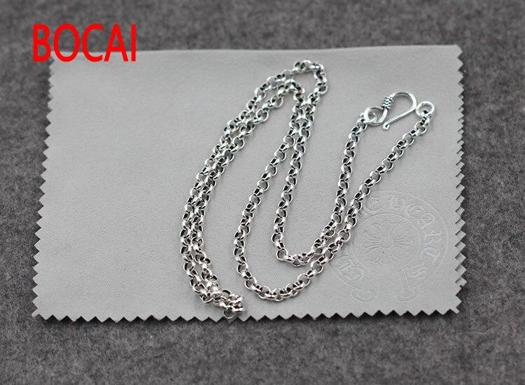 6cd2ba2b86f 925 bijoux en argent sterling rétro argent perle chaîne collier 4mm faire  le vieux chandail chaîne