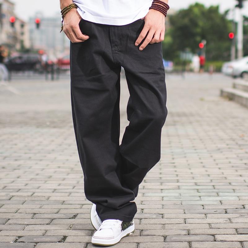 Hommes Streetwear Casual Loose Fit Noir Jeans Mâle Hip Hop Jeans - Vêtements pour hommes - Photo 2