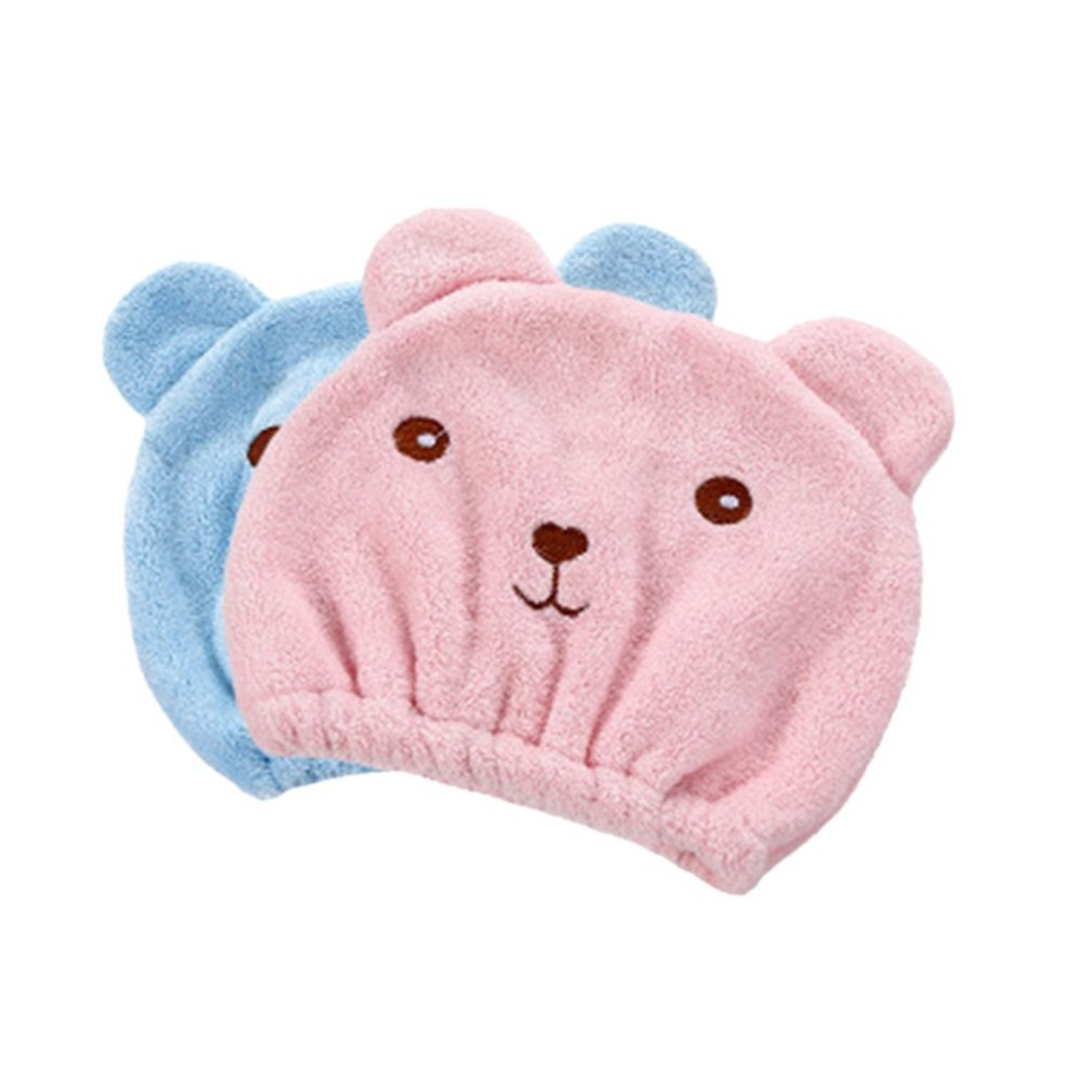 Lovely Animal Cartoon Bath Hair Dry Hat Shower Cap Strong Absorbing Quick Dry Head Towel Cap for mom&kids Universal Bathing Hat