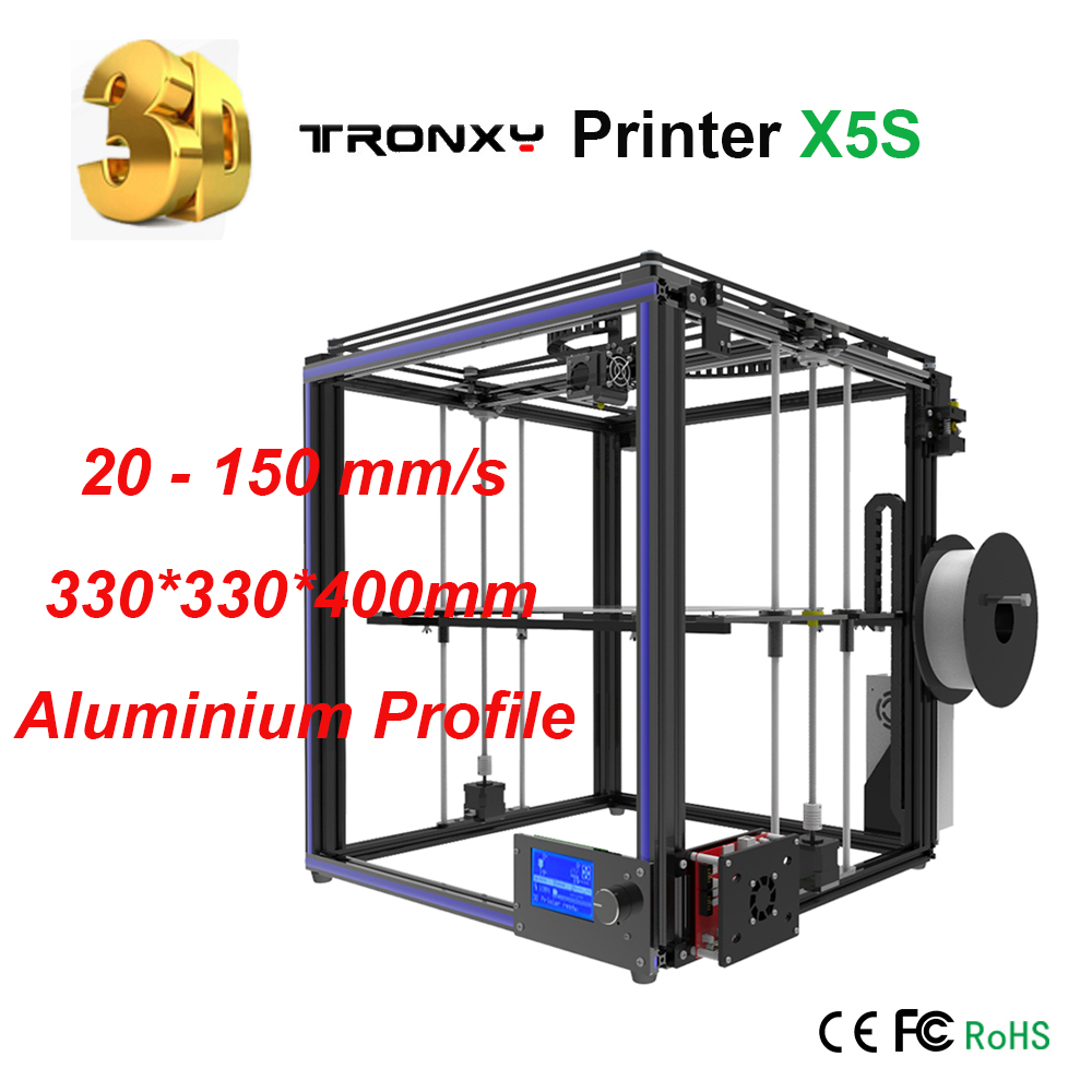 Upgraded Tronxy 3D Printer X5S Precision Reprap DIY 3D Printer kit 8GB SD card LCD Large Printing Size 3D Metal Printer 2017 anet a8 3d printer high precision reprap impressora 3d printer kit diy large printing size with 1rolls filament 8gb sd card