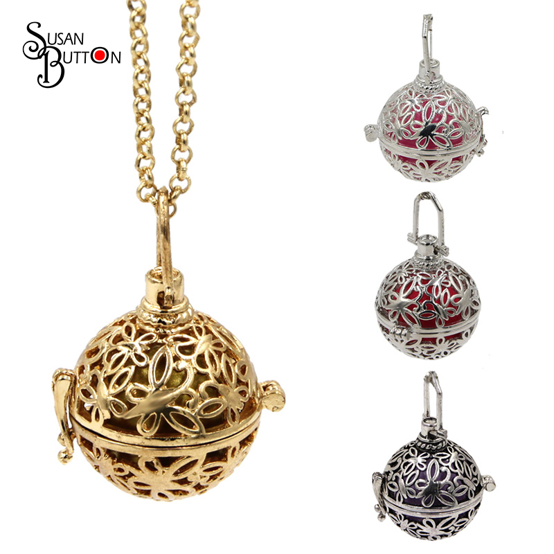 Hollow Butterfly Copper Chime Magic Box Cage Locket Necklace Angel Call Musical Sound Ball Pregnancy Necklaces Pendant Jewelry