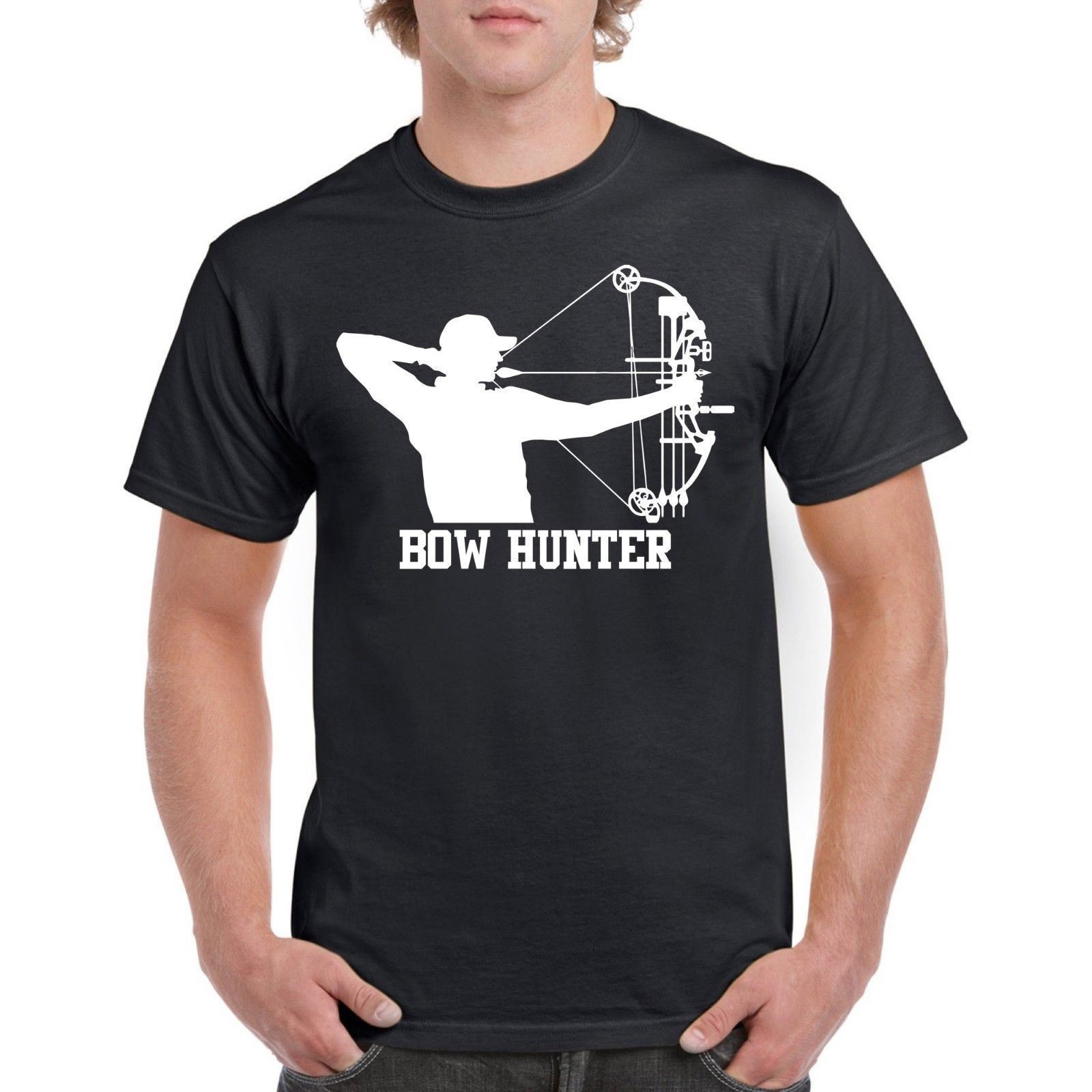 Bow Hunter Mens Tee Shirt Bow Archery Dad Gift 100% Cotton T-Shirt Pre-Cotton Tee Shirt  ...
