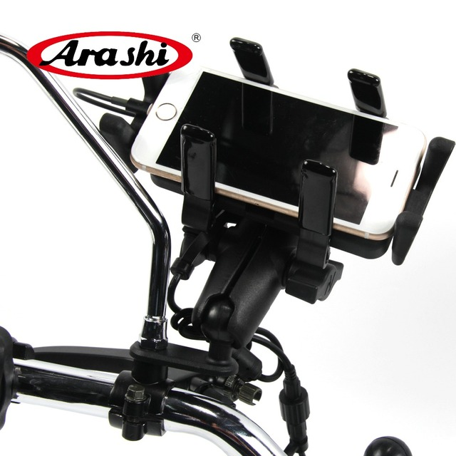 ARASHI Universal For Motorcycle Flexible Mobile Phone Holder With Silicone Support With Charger Handle Bar Mount Bracket