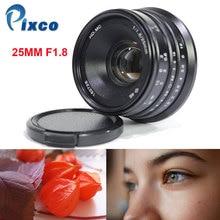 Pixco 25mm F1.8 NEX/M4/3 HD. MCManual Ống Kính Lấy Nét cho Micro Bốn Phần Ba M4/3 Cameras Như GX8 GX85 G7 G5 GX1 G3 G10