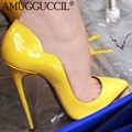 2017 Новых Плюс Большой Размер 34-45 Черный Красный Желтый Синий Мода сексуальные Высокий Каблук Весна Осень Женщины Леди Обувь Женская Насосы D1118