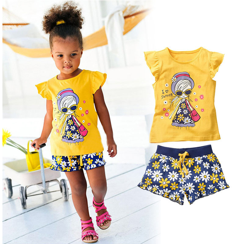 2017 new summer children clothing sets girls sandy beach clothes I love Summer t shirt +shorts baby girls flower pants cd michael jackson thriller 25