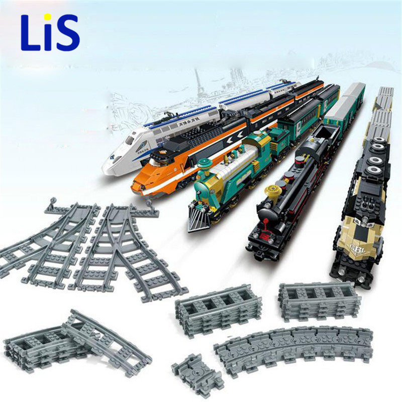 New City Trains Train Flexible Track Rail Crossing Straight Curved Rails Building Blocks Set Bricks Model Toy Compatible LEpins