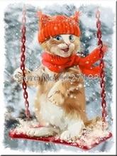 lovely cat snow painting full diamond embroidery bead patterns square Mosaic rhinestones needlework
