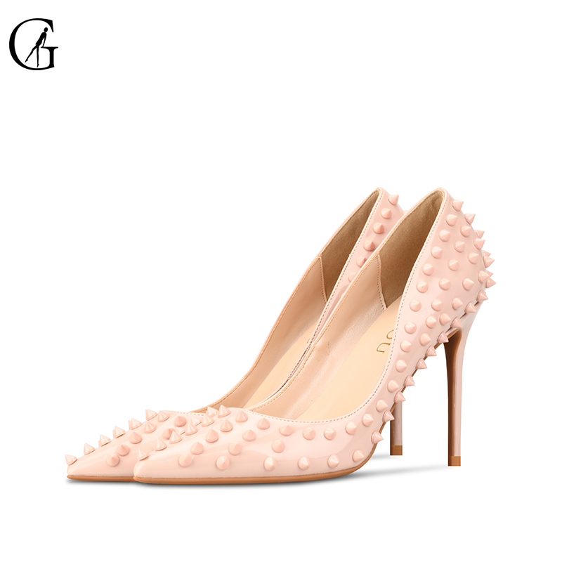 GOXEOU 2019  NEW woman High heels shoes Ladies Sexy Pointed Toe women pumps Buckle rivets nude heels shoes free shipping size 46GOXEOU 2019  NEW woman High heels shoes Ladies Sexy Pointed Toe women pumps Buckle rivets nude heels shoes free shipping size 46