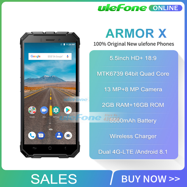 Ulefone Armor X Waterproof IP68 Smartphone 5.5″ HD + 18:9 Quad Core Android 8.1 2GB+16GB 13MP NFC 5500mAh Wireless Charge Phone