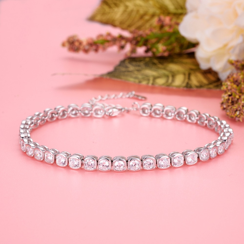 BELLA 925 Sterling Silver Bridal Bracelet Silver Plated 4MM Square Cubic Zircon Bracelet Wedding Women Bridesmaid Dress Jewelry