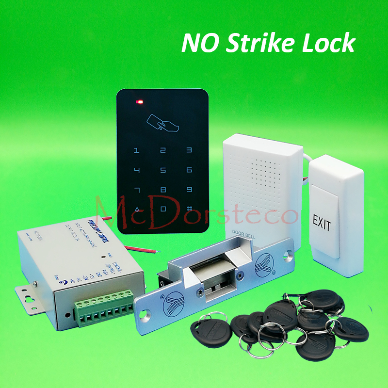 Brand New DIY Rfid Door Access Control Kit Set With Fail Secure No Electric Strike Lock Card Full Access Control System diysecur no model electric strike door lock for access control system use power fail lock brand new