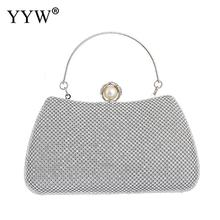 YYW Women Rhinestone Evening Clutch Crystal Luxury Handbags Silver Party Wedding Purse Chain Tote Hand Bag Bolsa Feminina