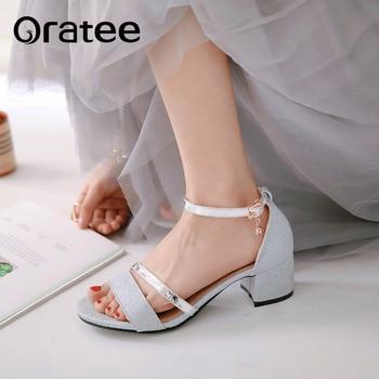Nowe eleganckie sandały z odkrytymi palcami kostki pasek z klamrą damskie sandały wysokie obcasy buty ślubne sukienka brokatowe złote srebro Plus rozmiar 31-43