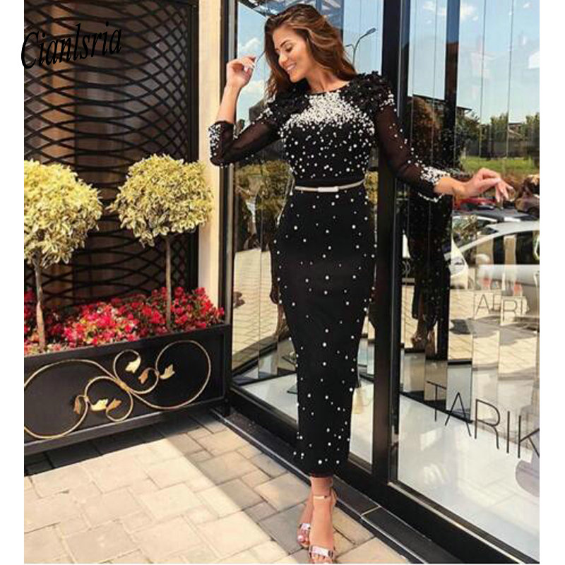 Black   Cocktail     Dress   Long Sleeves Sheath Beaded Round Neck Tea Length Flowers Plus Size Women Formal Gala   Dresses   Party Gowns