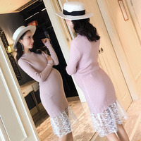 BONJEAN Autumn Winter Maternity Clothes High Elastic Show Thin O neck Lace Render Knitted Dress Pregnant Women Large Size Cloth