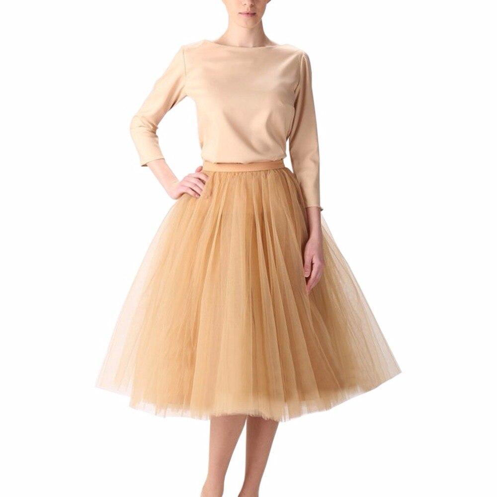 Vintage Gold Puffy Women Tulle Skirts 2017 Knee Length Female Tulle Skirt Plus Size Midi Tutu Adult Skirt High Quality Faldas