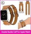 New style duplo buckle cuff pulseira de couro genuíno para apple watch 38mm 42mm Com 1:1 Original Adaptadores De Metal Fit Série 1 E 2