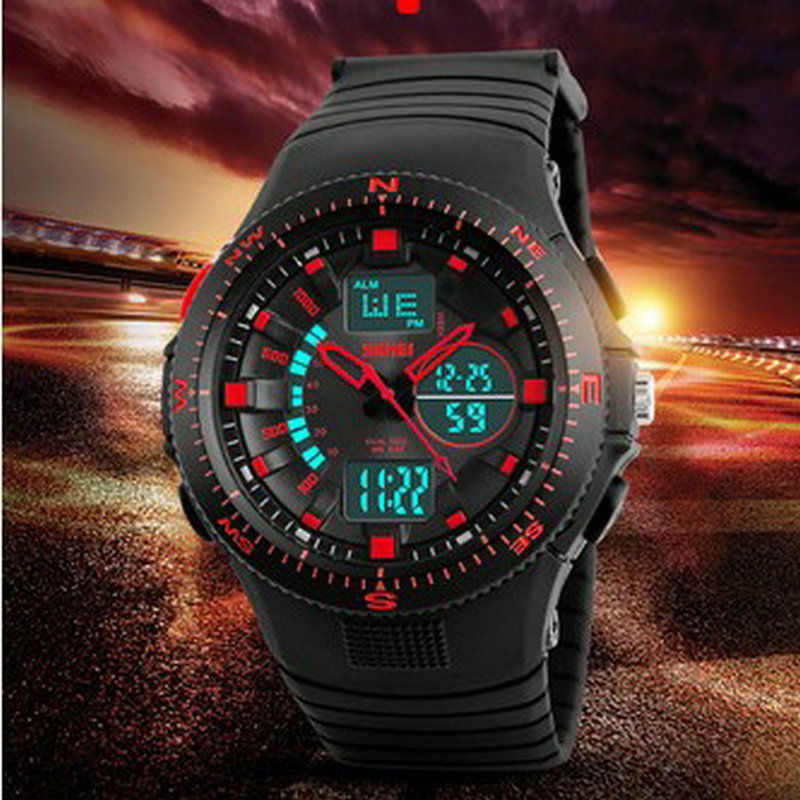 waterproof military wrist watch led backlight analog digital sports man watch