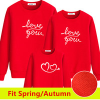 Family matching clothes Spring Autumn long sleeve love you print mother father baby clothes family clothing