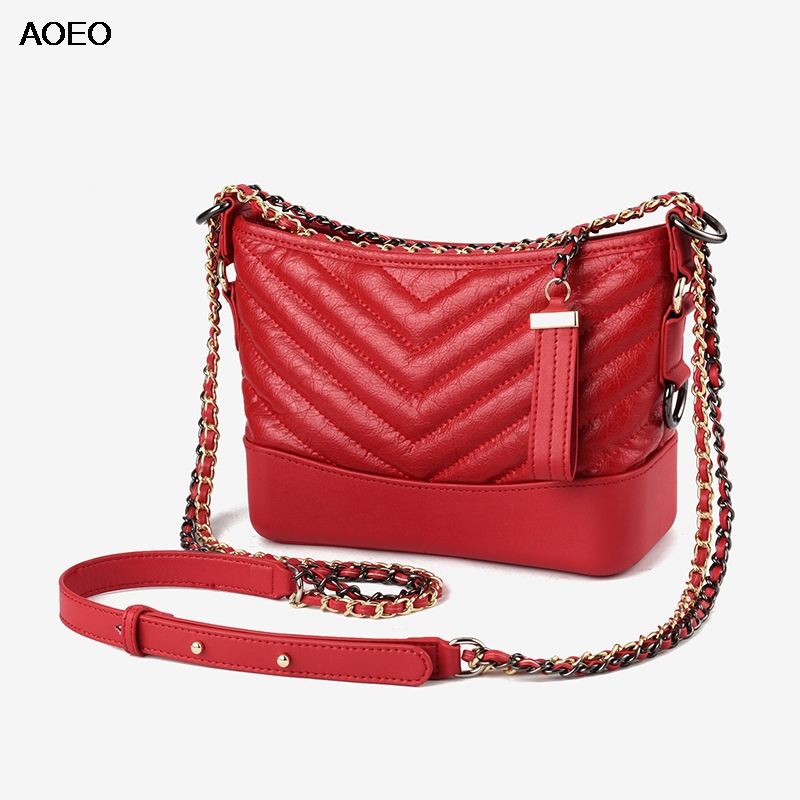 AOEO Womens Shoulder Bag Luxury Handbag Ladies Fashion Design Chains Bucket Crossbody Bags Split Leather Messenger