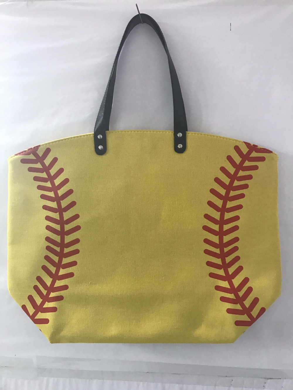 wholesale new 20pcsNew baseball Kids Cotton Canvas Sports Bags Baseball Softball Tote Bag for Children