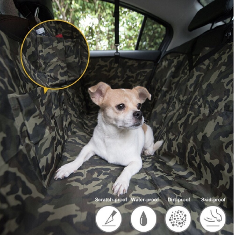 Camouflage Dog Seat Covers Mat Pet Travel Universal Waterproof Back Seat PVC Hammock For Cars Trucks SUV With 3 Storage Pocket rainbow pattern pet dog necktie acu camouflage