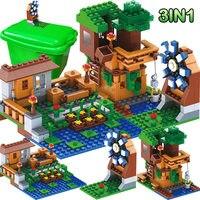 3 IN 1 stadt Serie Luxus Baum Haus Kompatibel für Legoingly Dorf Bauernhof Bausteine Windmühle Ziegel Kinder Spielzeug-in Sperren aus Spielzeug und Hobbys bei