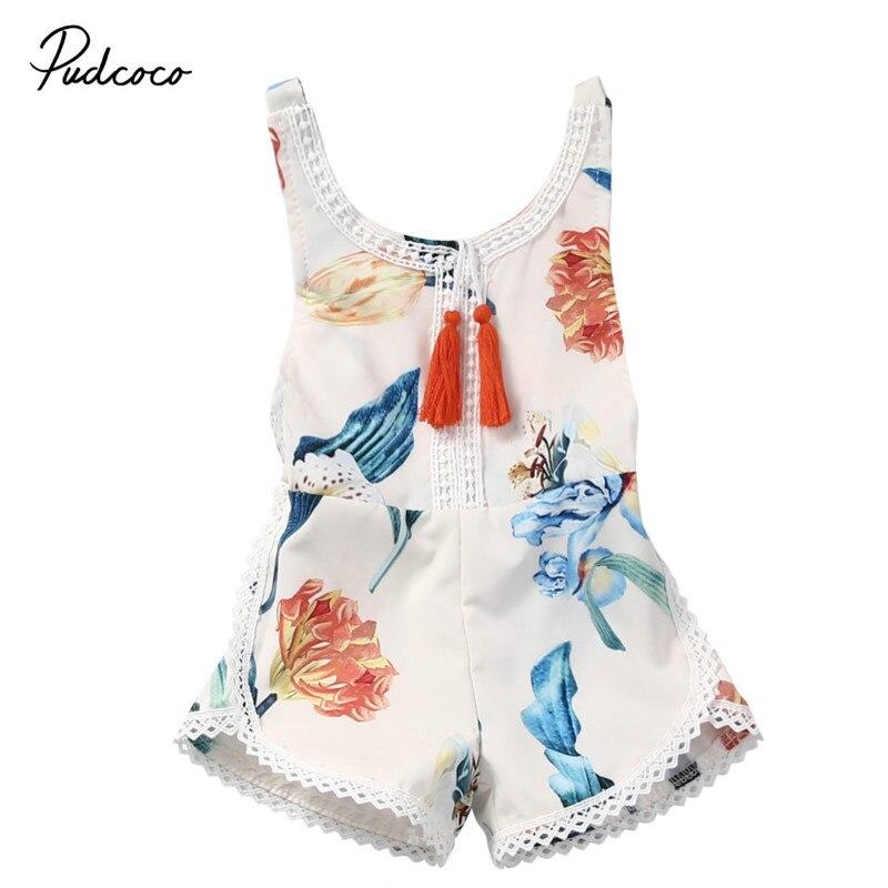 Pudcoco Baby Clothing 2017 New Newborn Baby Girl   Rompers   Summer Sleeveless Tassel Floral Girls   Rompers   roupa infantil menina