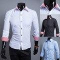 2015 New Plaid Collar & Cuffs Fashion Mens Dress Shirts Slim fit Casual Long sleeve Social Camisa Masculina M-XXL