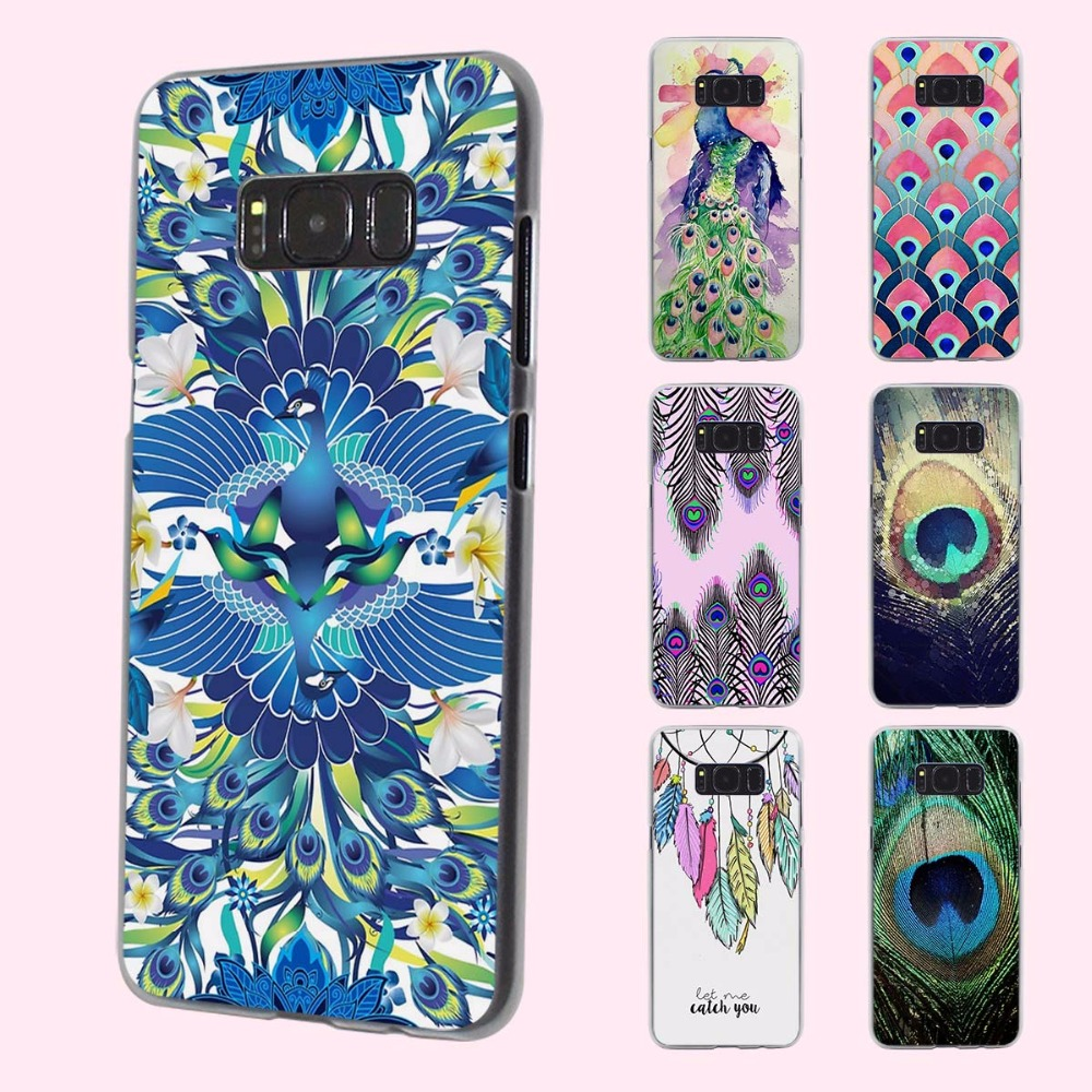 Pu leather case for samsung galaxy a7 2016 a710 peacock feather - Beautiful Luxury Peacock Feather Pattern Clear Phone Shell Case For Samsung Galaxy S8plus S6 S7 Edge