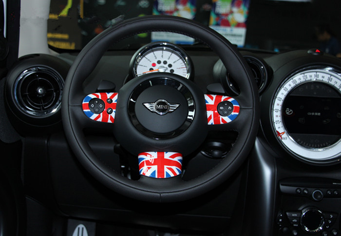 3pcs/set 2015 new ABS Plastic Steering Wheel Cover Decoration with UV Protected Modified Parts For MINI ONE MINI Cooper R55-R61 runba ice silk steering wheel cover sets with red thread