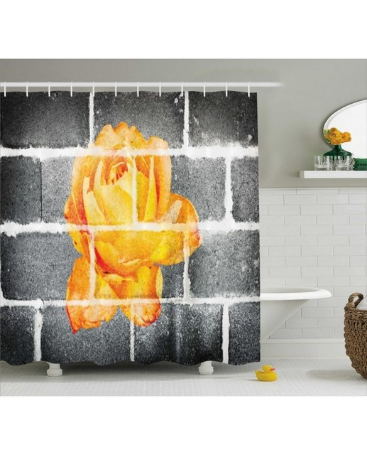 Gray Shower Curtain Orange Rose On Brick Wall Print For Bathroom Waterproof And Fabric Romantic