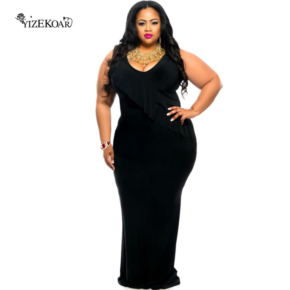 Plus size black tank maxi dress