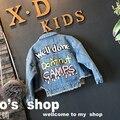 Moda primavera meninas jaqueta jeans casaco 2017 turn-down collar carta jeans meninas casacos e jaquetas para crianças Cardigan roupas